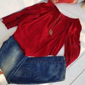 American Rag Off the Shoulder Red Boho Blouse